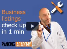 Doctor with a stetoscope ptrending to do business listings check up