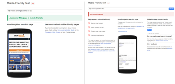 google mobile testing tool results
