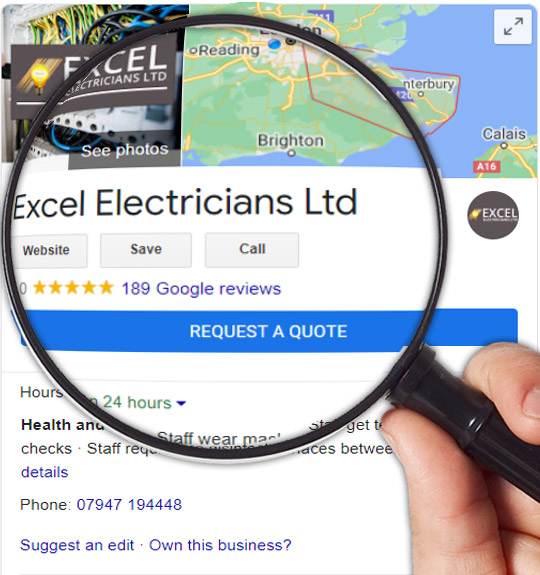 google my business listing under magnifying glass