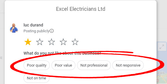 example of negative google review attributes