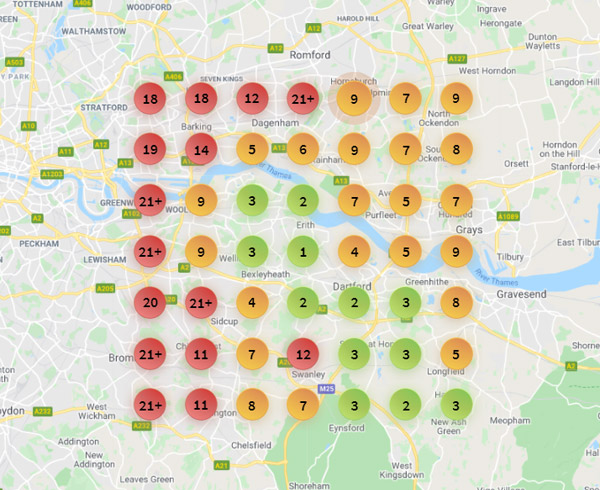 Bright local ranking grid