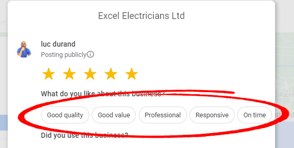 example of google review positive attributes