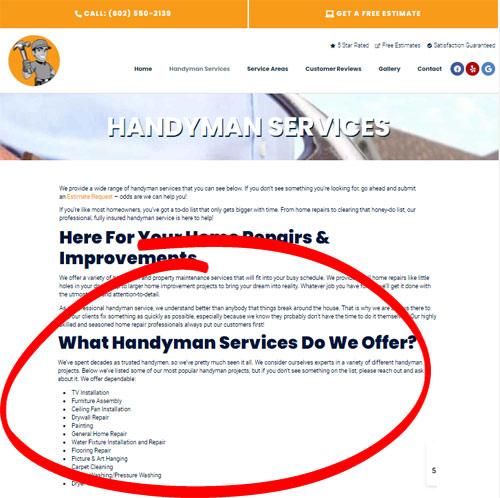 handyman website example