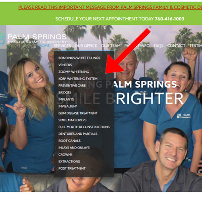 dentist home page snapshot