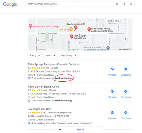 google map pack results example