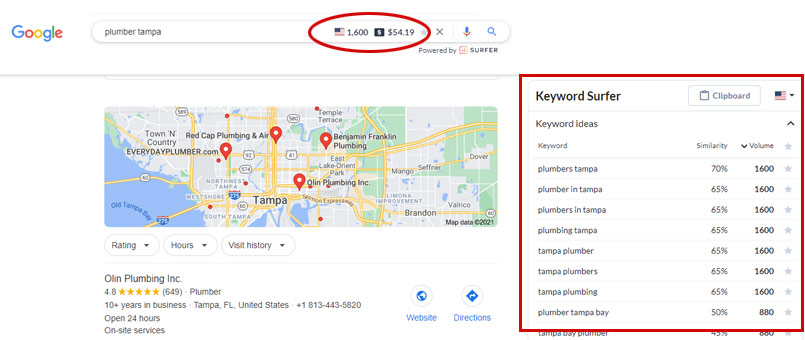keyword surfer results in google search