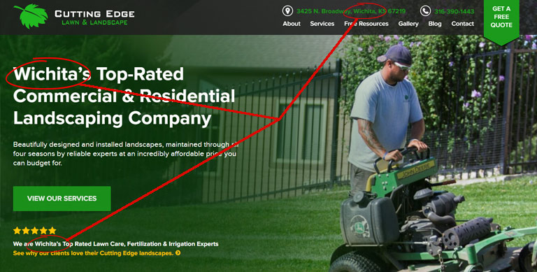 example of location keyword on local Wichita gardener website